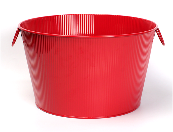 """CG149RRD Round red metal container with ear handles  15.2""""Dx9.2""""H"""