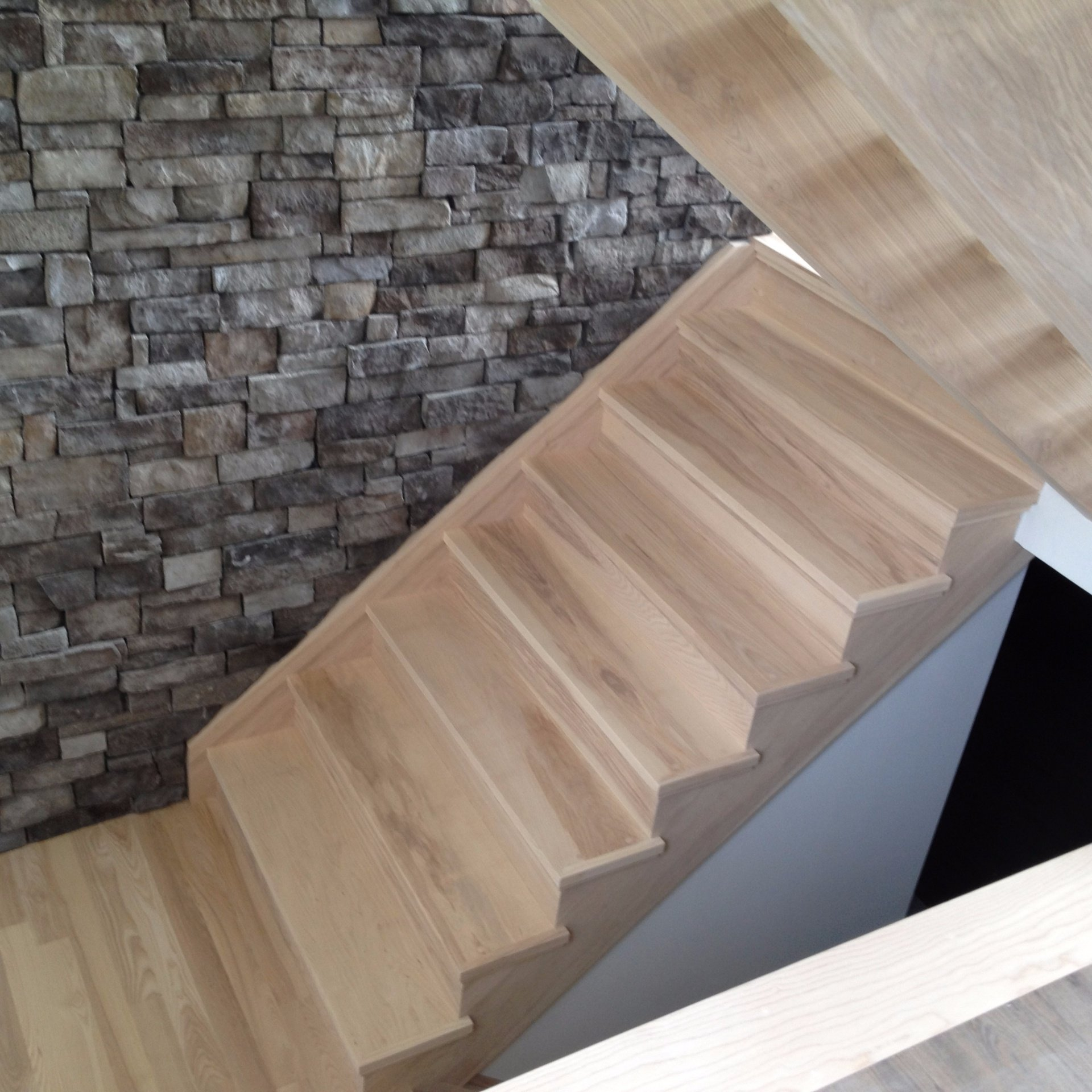 Straight solid ash Scandinavian style stair