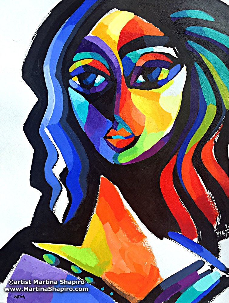 Summer Goddess abstract original painting of woman inspired by paintings of Picasso, by artist Martina Shapiro