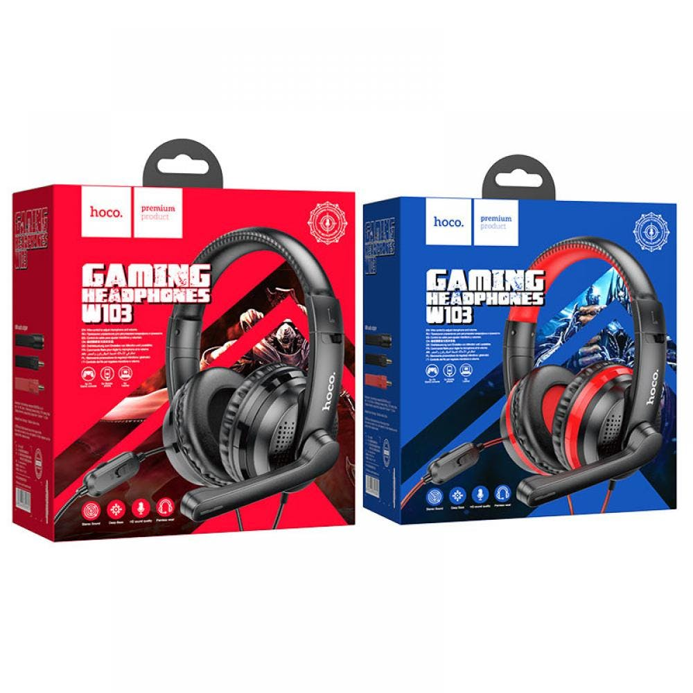 HOCO W103 Stereo Gaming Headset for PC, Xbox One, PS Game Console, Laptop, Cellphone with Audio Adaptor
