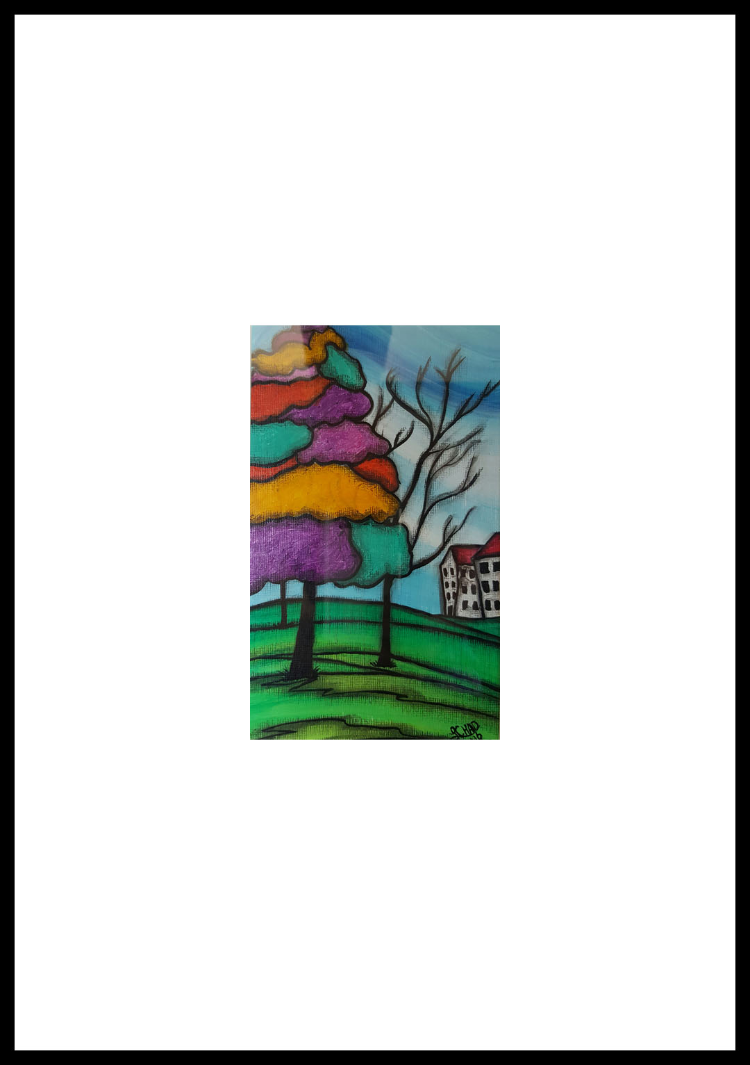 """Ice Cream Tree"" [2016] 5"" x 8"" (Image). 12"" x 15"" (framed) Mixed media SOLD"