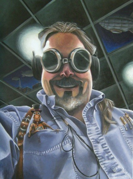 "Steampunk Dave 30x40"" Acrylic on canvas First Place Acrylics Art Aurora 2018 Honorable Mention RHGA 2017"