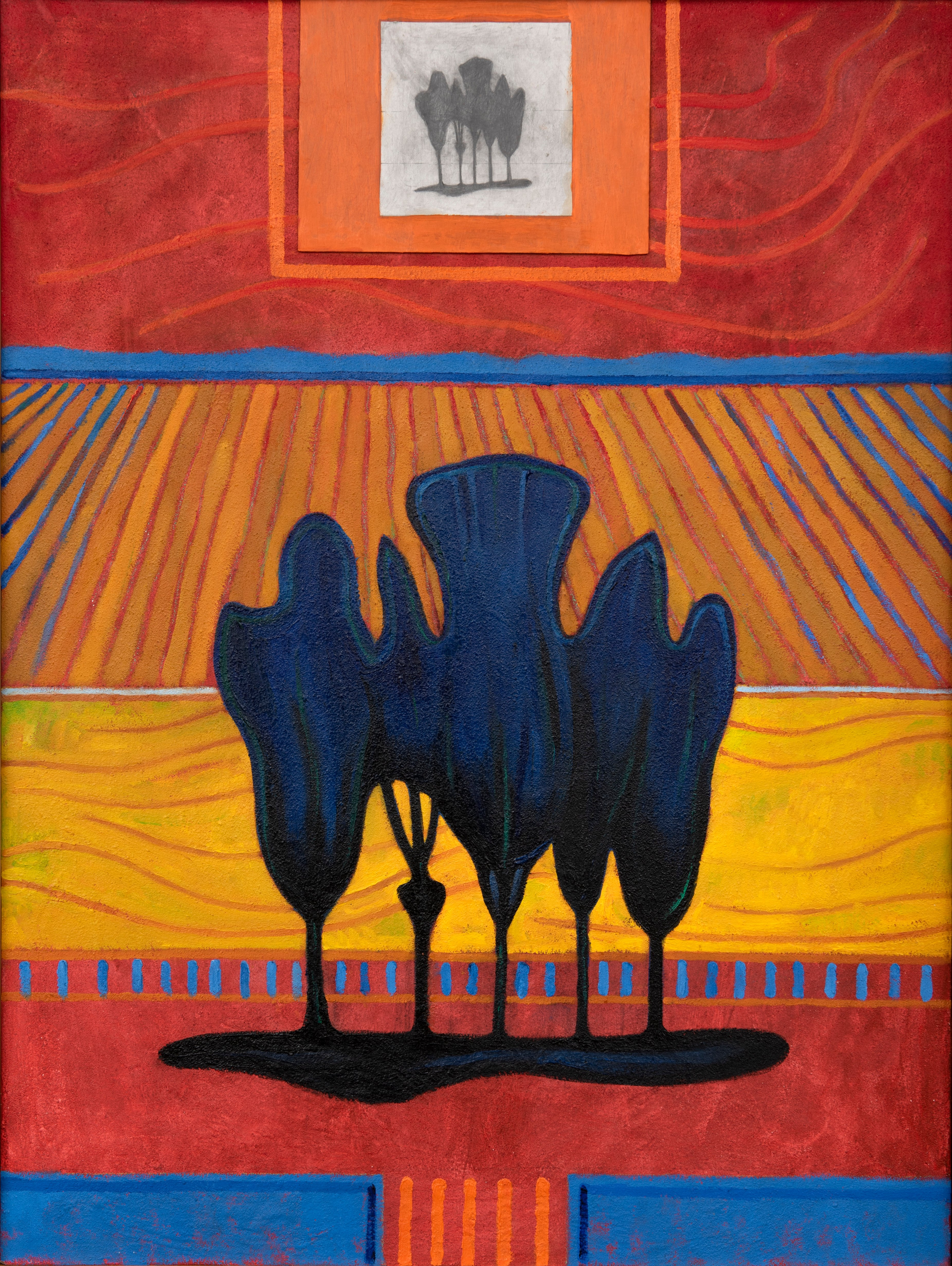 Patrick Landsley, Red Echo, oil/acrylic on board, 1990