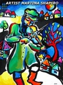 "SOLD to California, USA ""Fiddler And A Tree"" original painting in acrylic  and ink on paper, 15 x 20 inches"