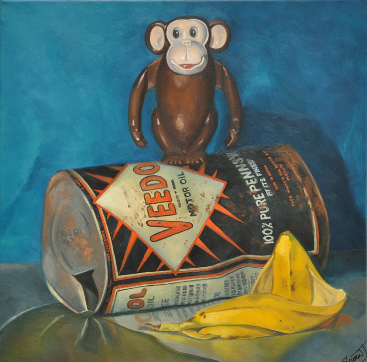 "Monkey Business 18"" x 18"" / sold oil on canvas"