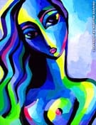 intriguing blue nude original painting