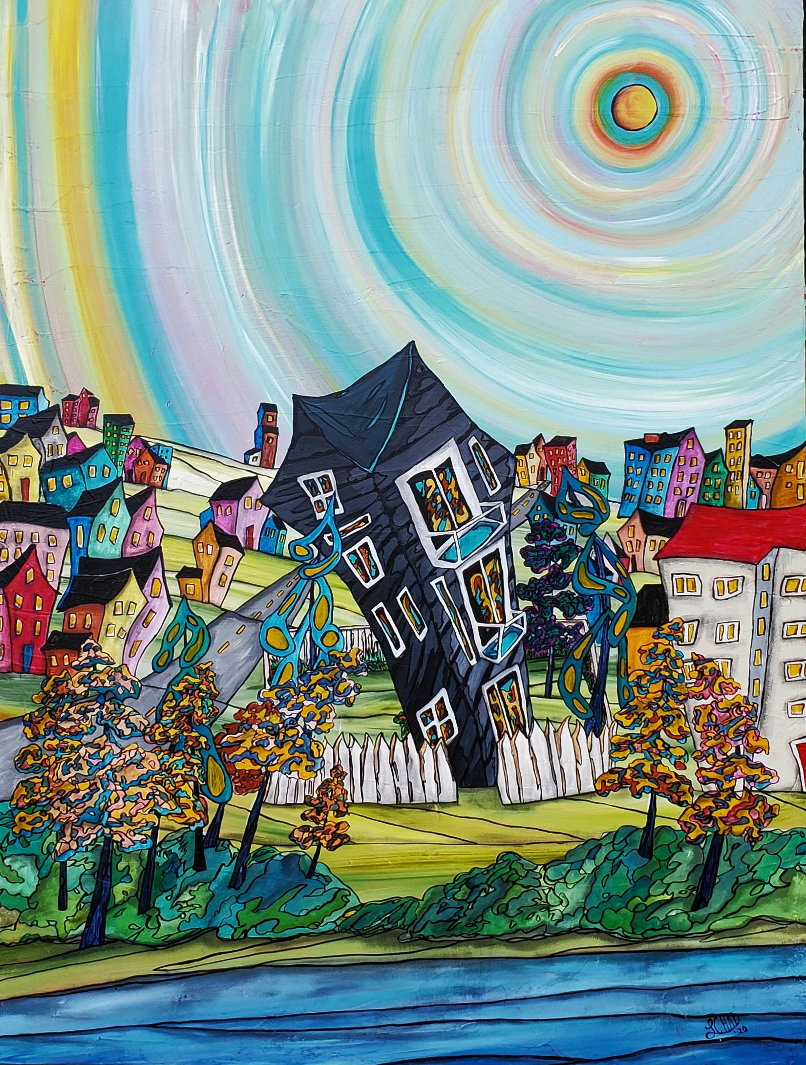 """""""My White Picket Fence"""" [2020] Image: 35"""" x 35"""" Mixed Media on Professional Canvas SOLD"""