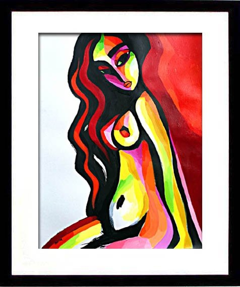 example of framing of the abstract nude painting