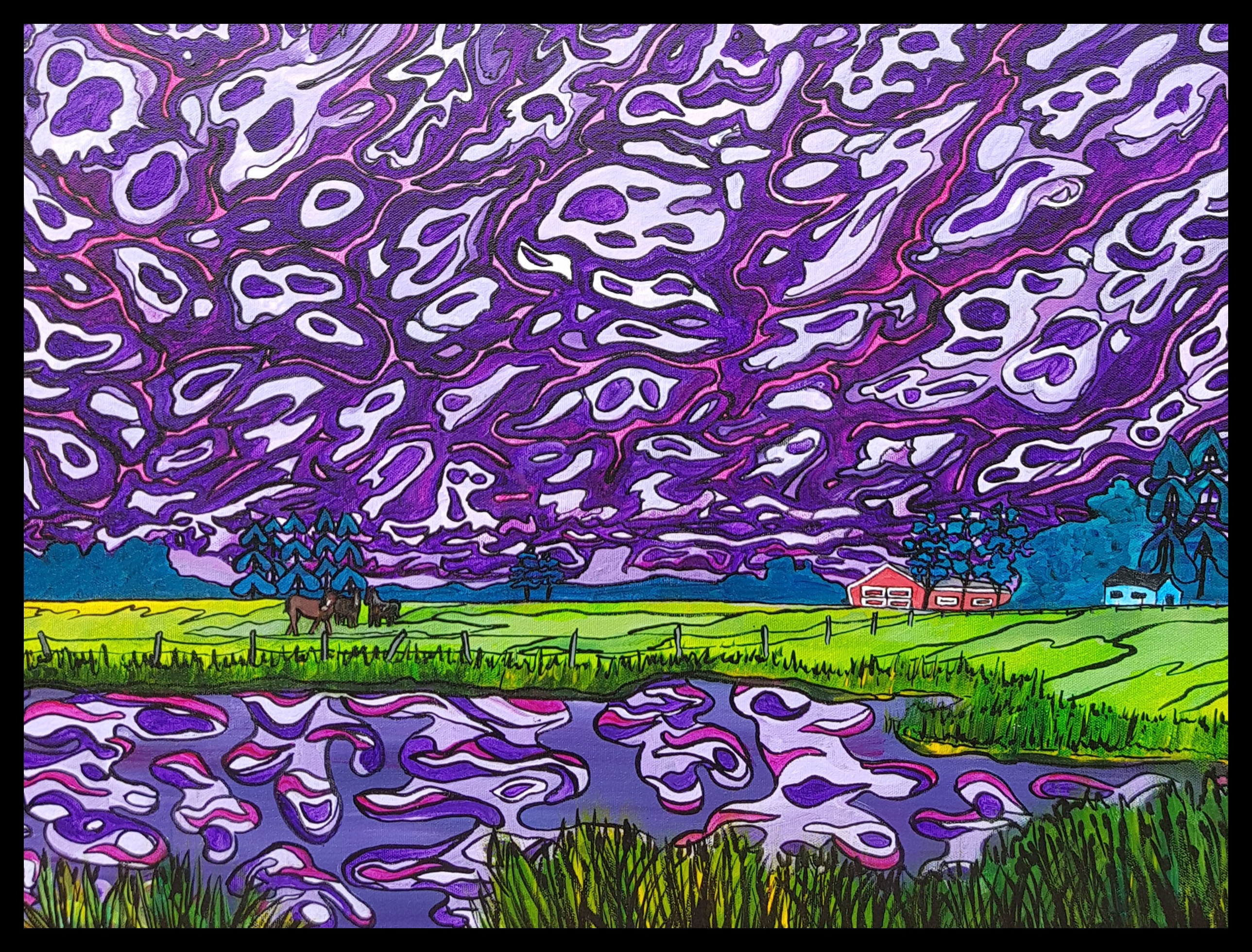 """Prairie Rhapsody"" [2018] Image: 24"" x 18"" Framed: 25.5"" x 19.5"" Acrylic on canvas Commissioned - SOLD"