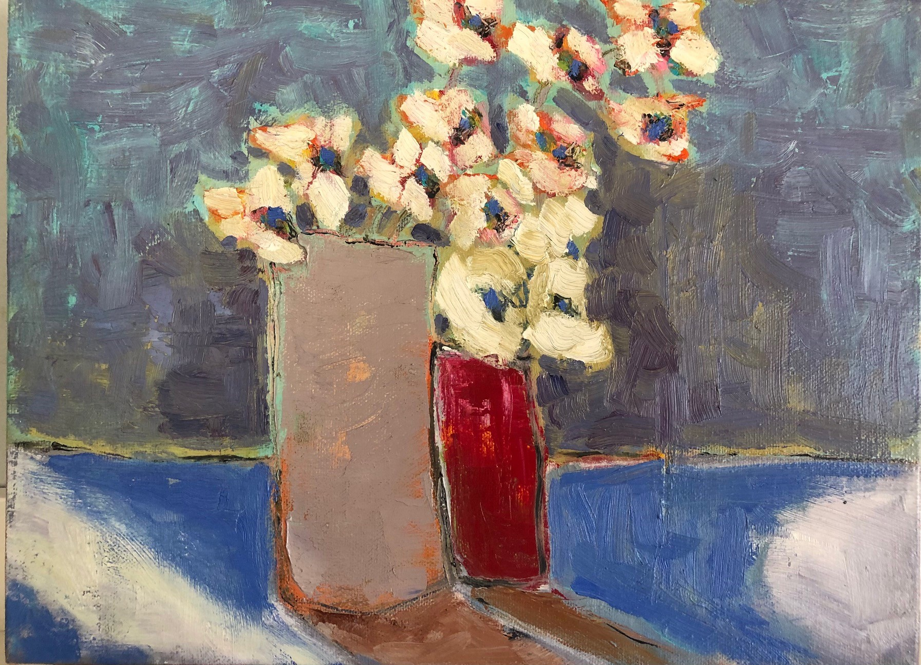 "Cotton Flowers 10"" x 10"", Oil on canvas $175"