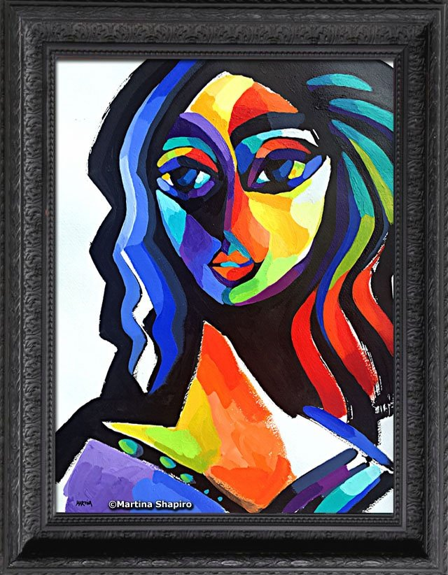 fine art original abstract painting of woman by artist martina shapiro