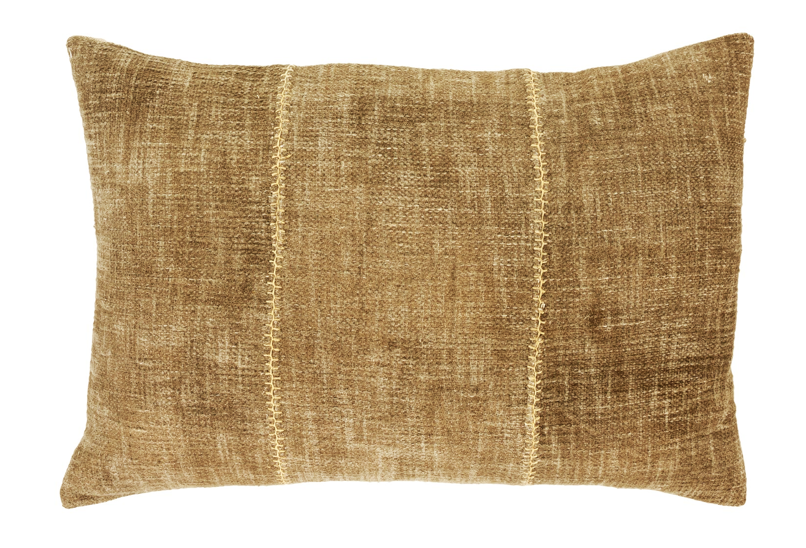 "16"" x 24"" Stone washed cotton cover with stitch detail and removable feather insert.  Made in India $69.99"