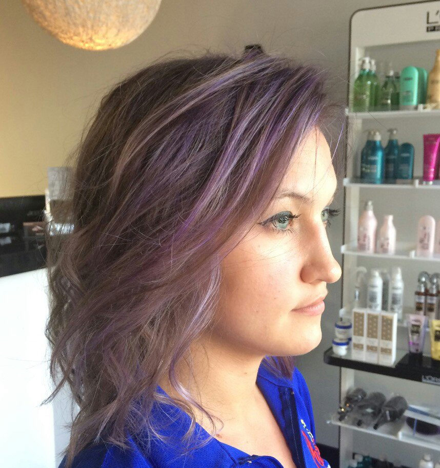 Hair with Purple Highlights