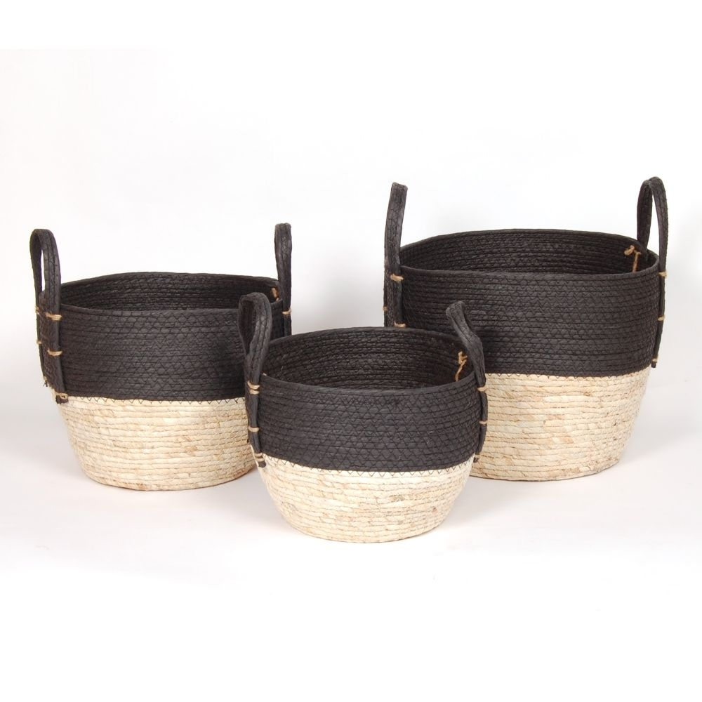 """Black & Natural Straw Basket Small 10""""d x 9""""h - $19.99 Medium 12""""dx11""""h - $29.99 Large 14""""d x 12""""h  $39.99 COMING SOON"""