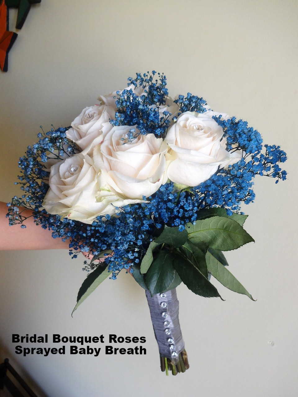 Bridal Bouquet Roses and Sprayed Baby Breath