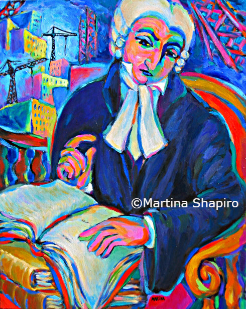Building His Case original abstract painting  of judge by artist Martina Shapiro