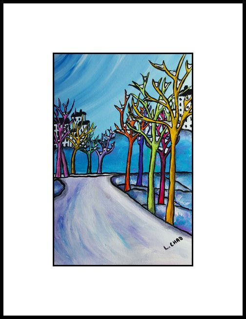 "2016-02 ""Along the Path"" Framed 10"" x 12"" Mixed media on 246 lb. paper SOLD"