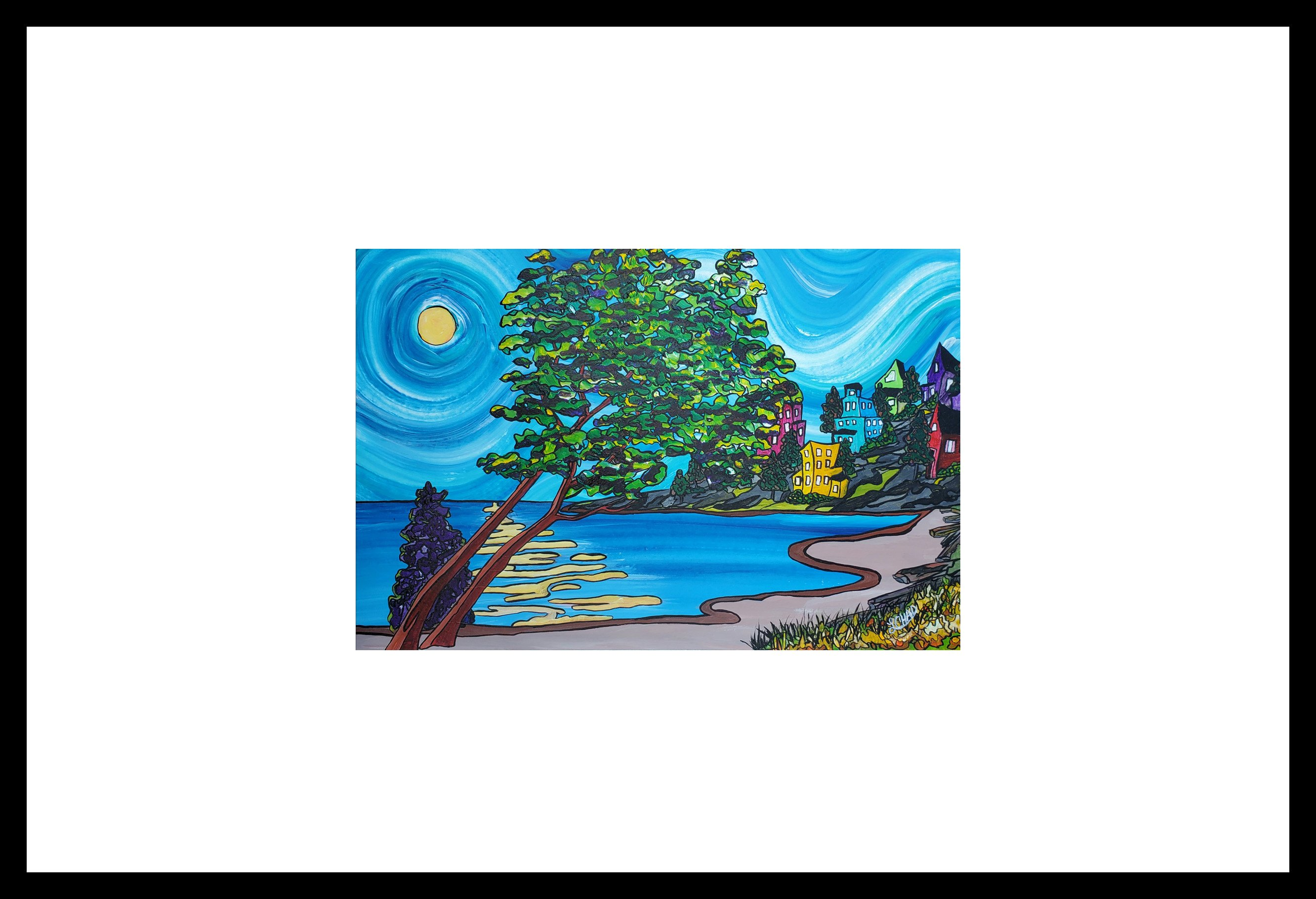 "2019-12 ""Arbutus on the Water"" Image: 16.75"" x 11"" Framed: 24"" x 18"" Acrylic on 246 lb paper $350.00"