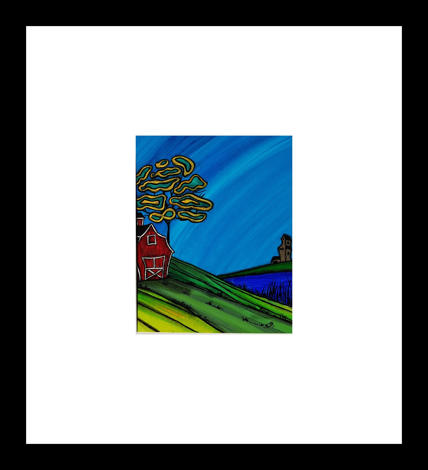 """Barn on the Hill"" [2018] Image: 7.5"" x 9.5"" Framed: 20"" x 20"" Acrylic on 246 lb. paper $200.00"
