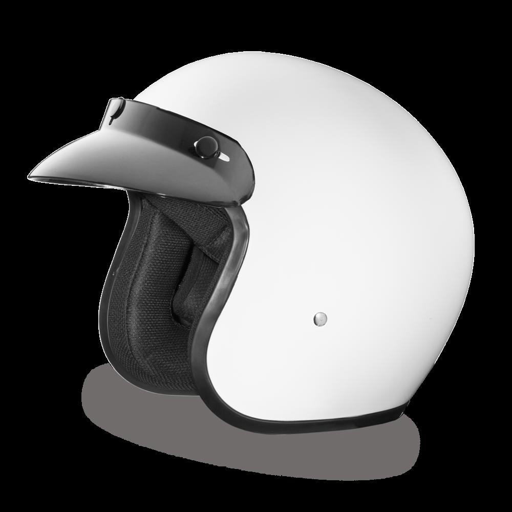 DAYTONA Cruiser Casque avec coque en polycarbonate  Sangle avec attache micrométrique  Sangle de retenue de lunettes à l'arrière  Couleur Blanc brillant Homologation DOT  XS à XL prix: 106.11$