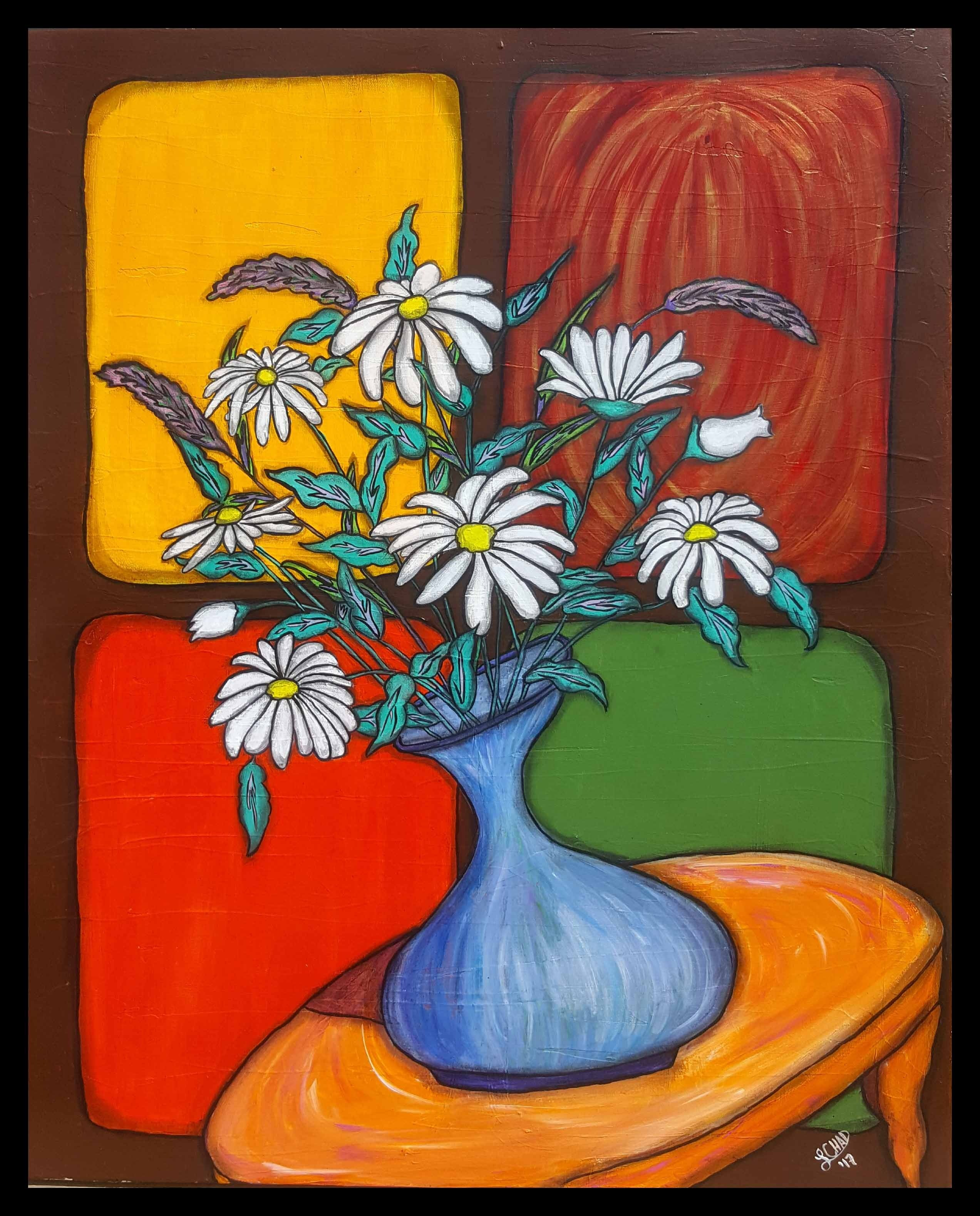 "2017 AWARD WINNER ""Daisy Bouquet"" [2017] Image 24"" x 30"" Framed 26"" x 32"" Mixed media on canvas $1200.00"