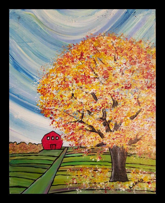 """Fall Tree"" [2015] Acrylic on canvas. 8"" x 10"" (image). 9"" x 11"" (framed) SOLD"