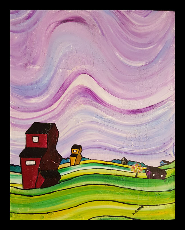 """Good Morning Prairie"" [2015] Acrylic on canvas. 8"" x 10"" (image). 9"" x 11"" (framed) SOLD"