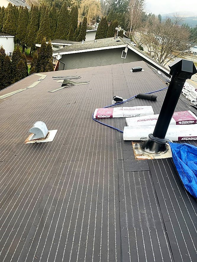 Installed felt on entire roof.