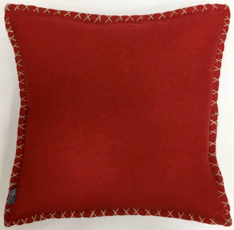 """Recycled Felt with Jute Cross Stitch hem. Feather Insert with zipper enclosure 20"""" x 20"""" $39.99 SALE $29.99 1 available"""