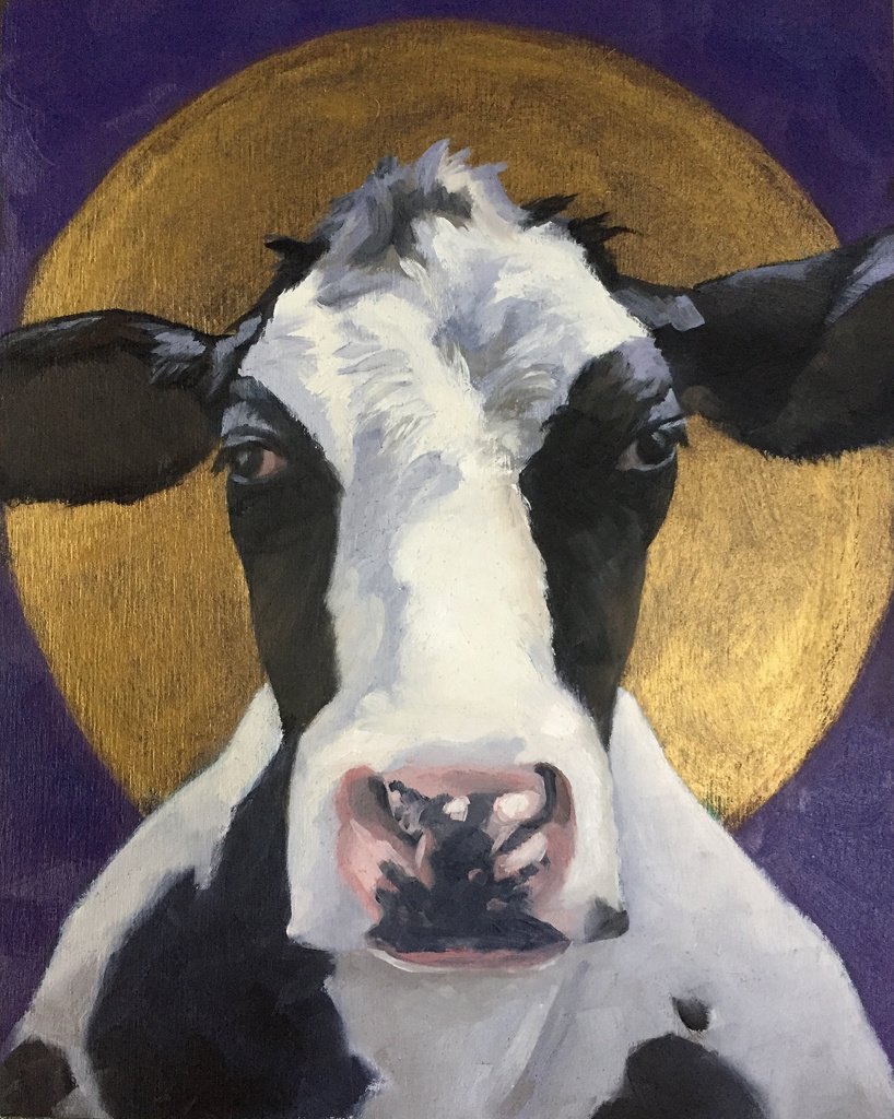 "Holy Cow 8"" x 10"" oil on wood panel"