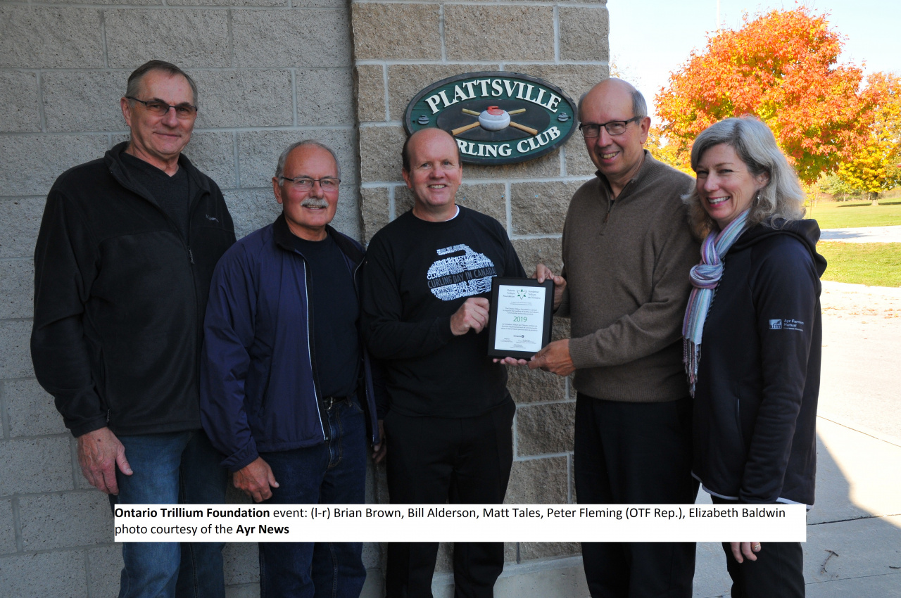 Ontario Trillium Foundation recognition event: l-r Brian Brown, Bill Alderson, Matt Tales, Peter Fleming (OTF Rep), Elizabeth Baldwin (photo courtesy of the Ayr News)