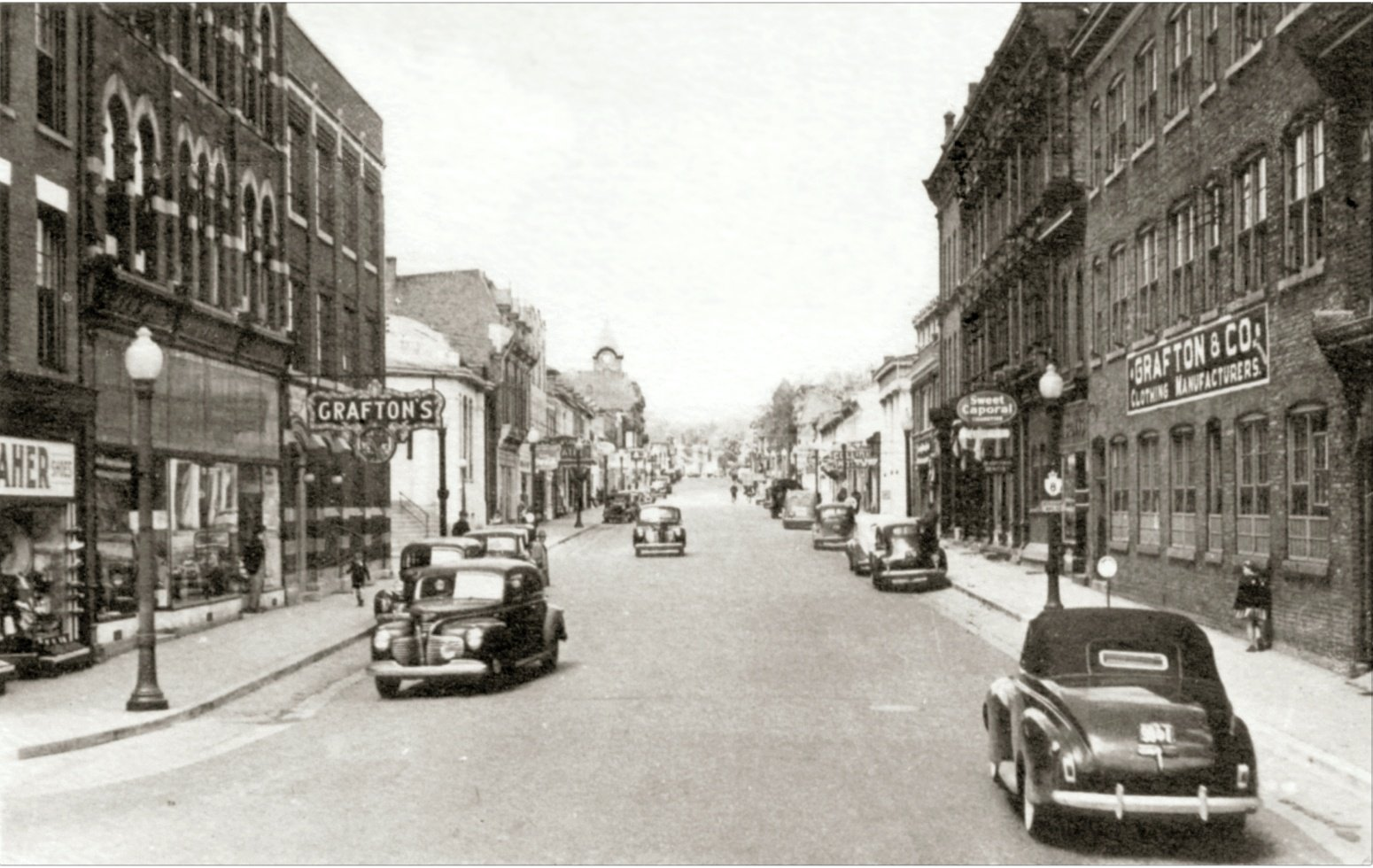 Looking West on King Street  at the corner of Cross Street