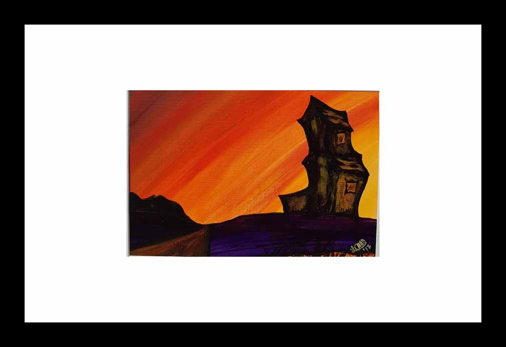 """Sunset Sentinel"" [2017] mage 6.75"" x 4.75""  Framed 14"" x 14"" Acrylic on 246 lb. paper SOLD"