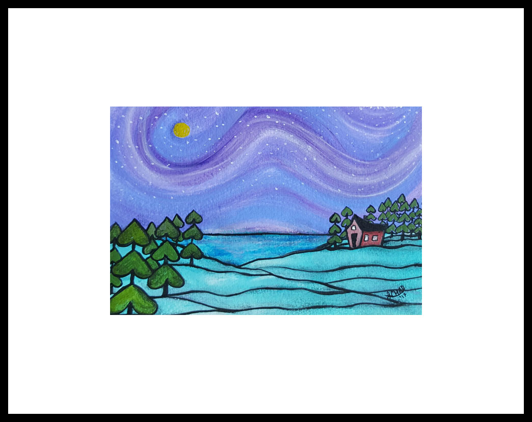 """Starry Night"" [2017] Image 8.5"" x 5.5"". Framed 14.5"" x 11.5"" Mixed Media SOLD"