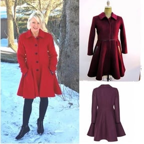 Style #10291-4  Ruby Red - Cashmere Wool Bordeaux (top) Plum (bottom) Cashmere/Wool Blend  Features: Feminine and elegant. Inspired by the early 1950's. Put this coat on and you'll feel just like a princess! Genuine Lambskin Leather Trim. Chamois lined. Extra buttons included.  In-stock colours: Black, Ruby Red, Ivory, Houndstooth or can be custom made in the colour of your choice.  Fabrics Available: Cashmere or Cashmere Blend, Alpaca blends 100% Pure Virgin Wool  or can be custom made in the fabric of your choice.  Size: S,M,L  Price: $ 599 and up