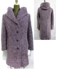 Style #4405-3   Mauve, Alpaca/Mohair Blend  Features:  Generous fit. Cozy and warm is how you'll feel in this coat. Single breasted with plenty of room for layering.  Over-sized hood which extends to a great neckline. Includes extra buttons.  Chamois lined for warmth.  Available Fabrics:   Cashmere or Cashmere Blend, Alpaca, 100% Pure Virgin Wool and more.  In-Stock Colours: can be custom made in any colour or fabric.  Size: S,M,L  Price:   $ 425 and up