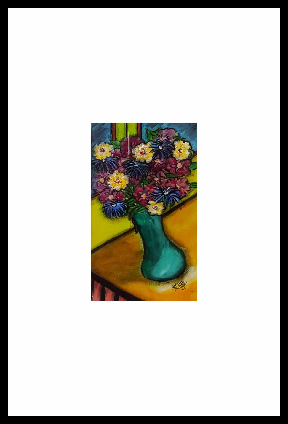 "2017-11 ""Sunnyways Bouquet"" Framed 8.25"" x 14.5"" Mixed media on 246 lb paper $150.00"