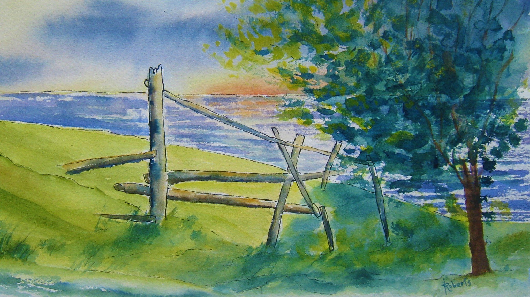 Sunrise in Tors Cove 8 x 11 unframed