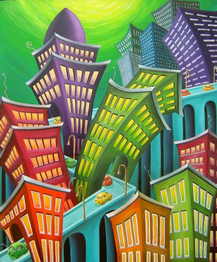 "Urban Vertigo 30x36"" Acrylic on canvas"