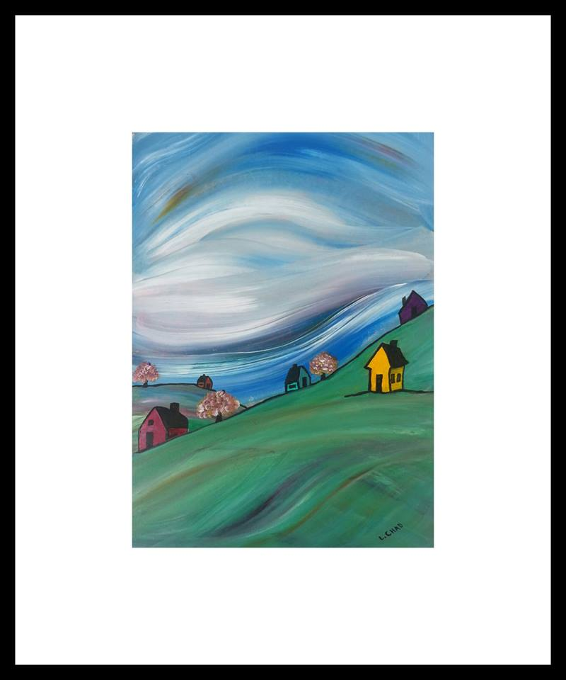 """Village Under the Sky"" [2015] Acrylic on paper. 8"" x 11"" (image). 15"" x 18"" (framed). SOLD"