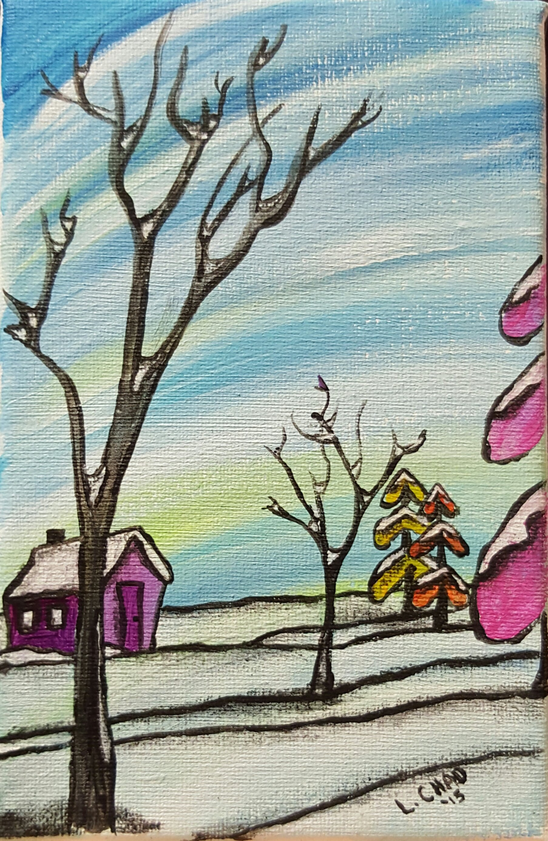 """Winter Solstice"" [2015] Mixed media on canvas. 7"" x 4.5"" (unframed with easel) SOLD"