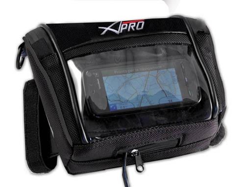 Sac porte GPS A-Pro ZENIT Sacoche spécialement étudiée pour un large éventail de terminaux  de navigation. Les zips sont étanches. Les fixations au guidon sont  universelles par velcro et permettent d'adapter la sacoche à toutes les motos actuelles et anciennes. Elle peut se transporter en bandoulière ou à la ceinture d'un pantalon Taille 15x14x5.5cm - 1L 32.18$