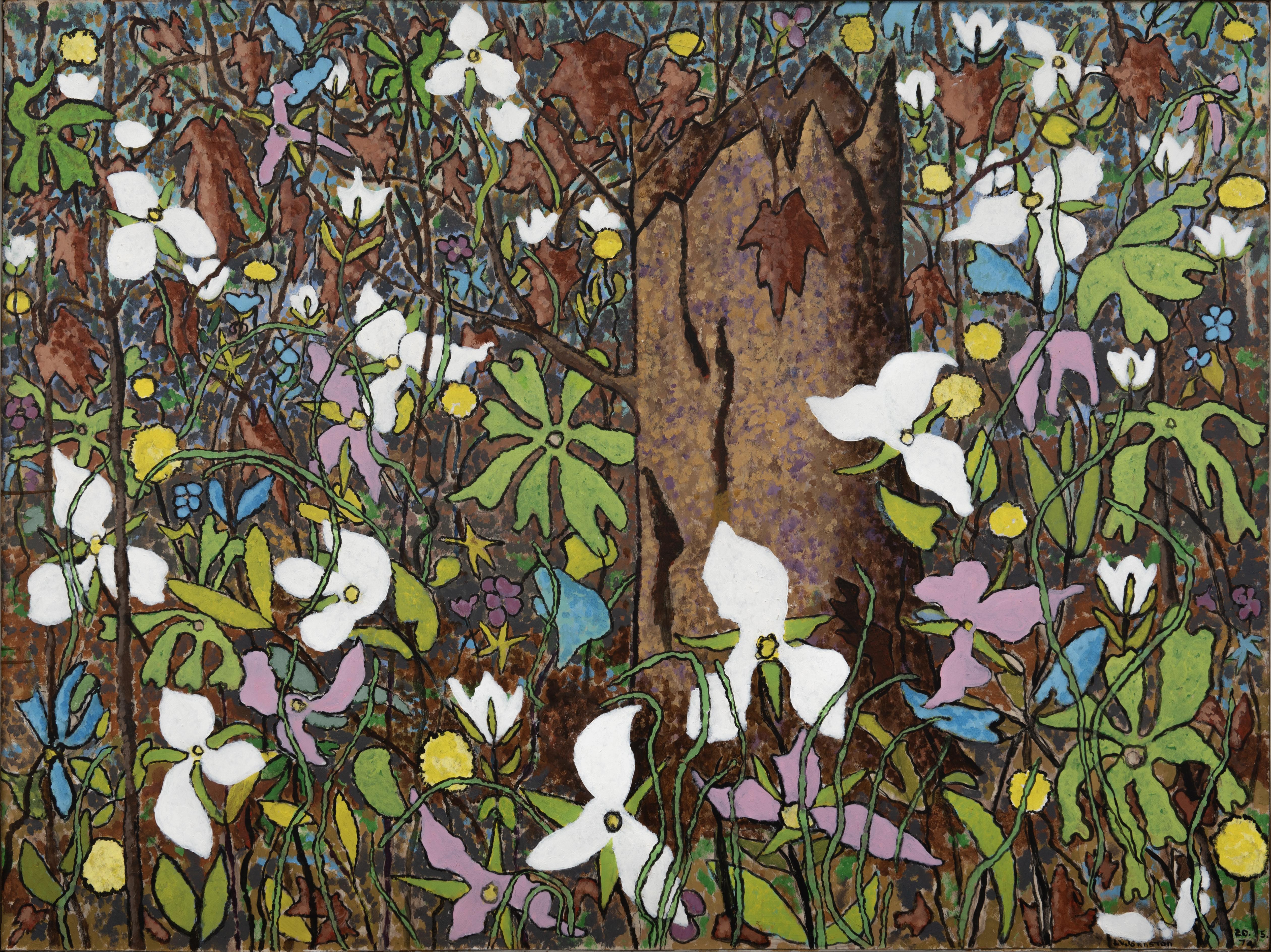 Lloyd Johnson, May Woods with Trilliums, Acrylic on masonite, 1975
