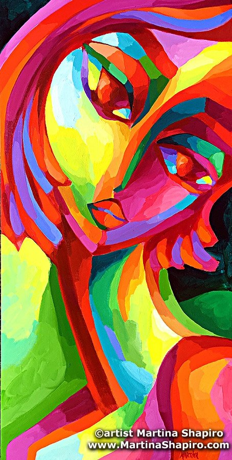 Abstract Red Girl On Green painting by artist Martina Shapiro