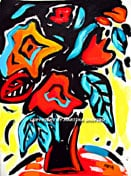 """SOLD to TX, USA. """"Abstract Rose Bouquet"""" original painting/drawing in acrylic and ink on paper,  15""""x 20"""""""