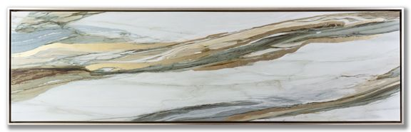 """20"""" x 71"""" Hand embellished canvas art with metallic foiled accents in a champagne floater frame $239"""