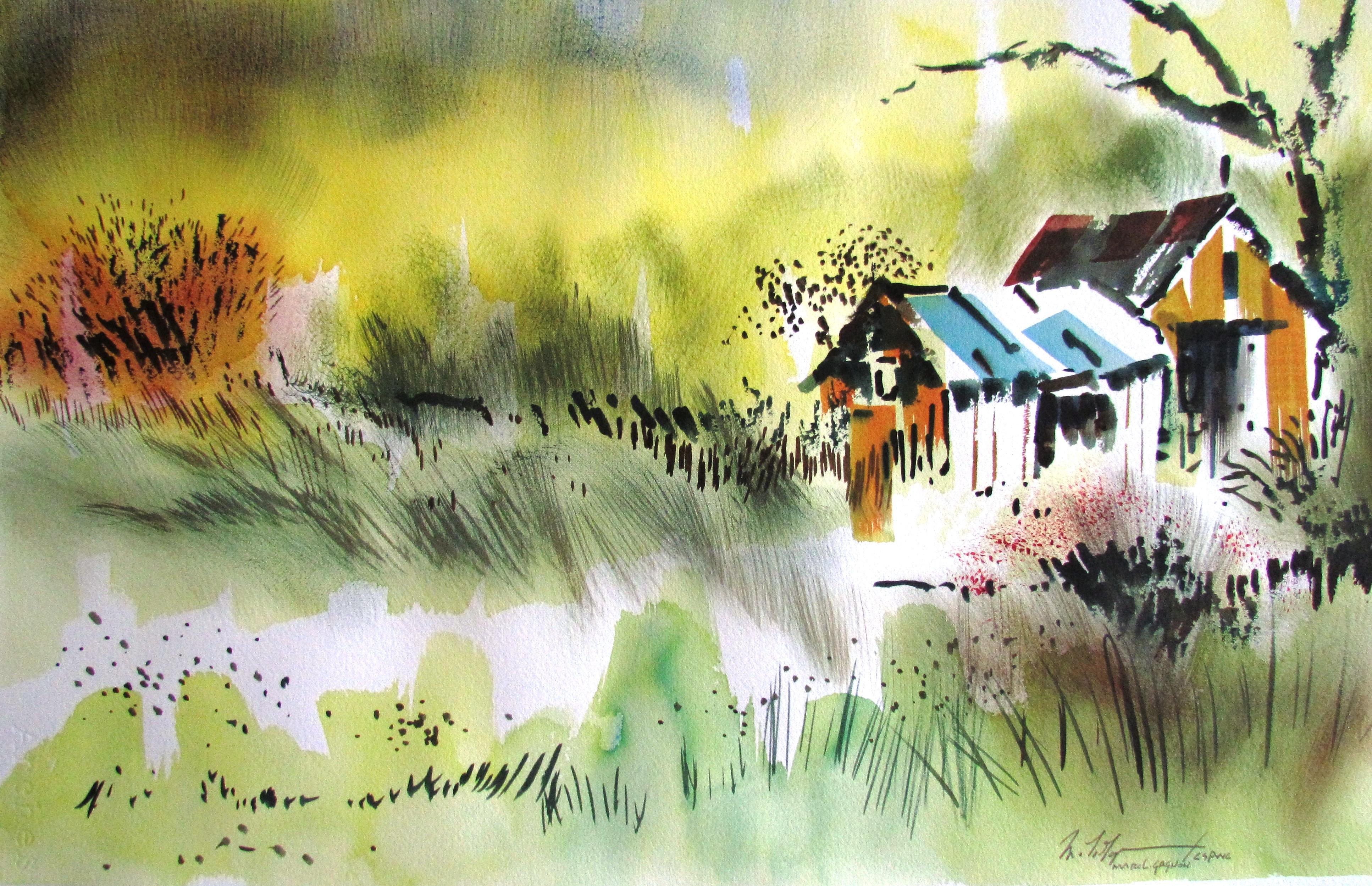 Summer Fields Watercolour