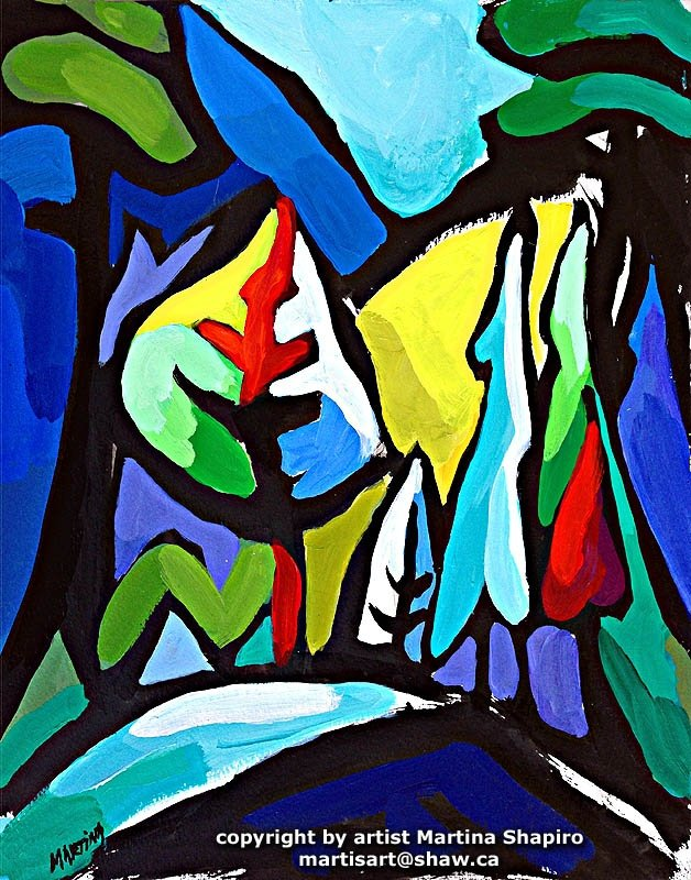 "Title:	""BC Landscape No.4"" Medium:	original painting in acrylic and ink on paper Size:	12 x 15 inches Price:	US$400"