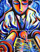 Call to the Torah Jewish original painting by artist Martina Shapiro