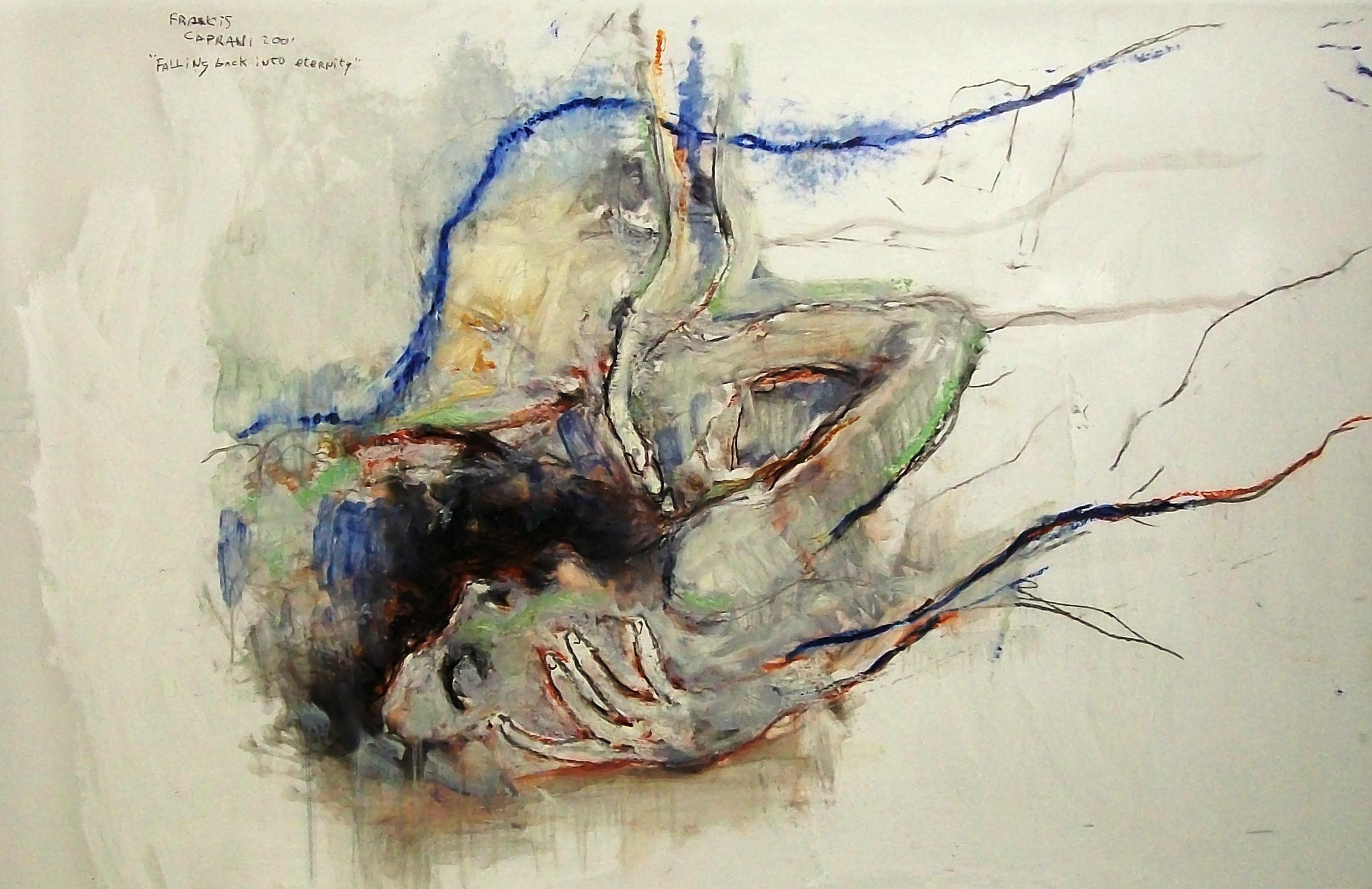 Francis Caprani, Falling Back into Eternity, Acrylic on mylar, 2001, 80x123cm